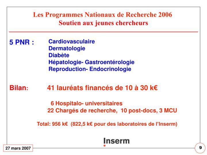 Les Programmes Nationaux de Recherche 2006