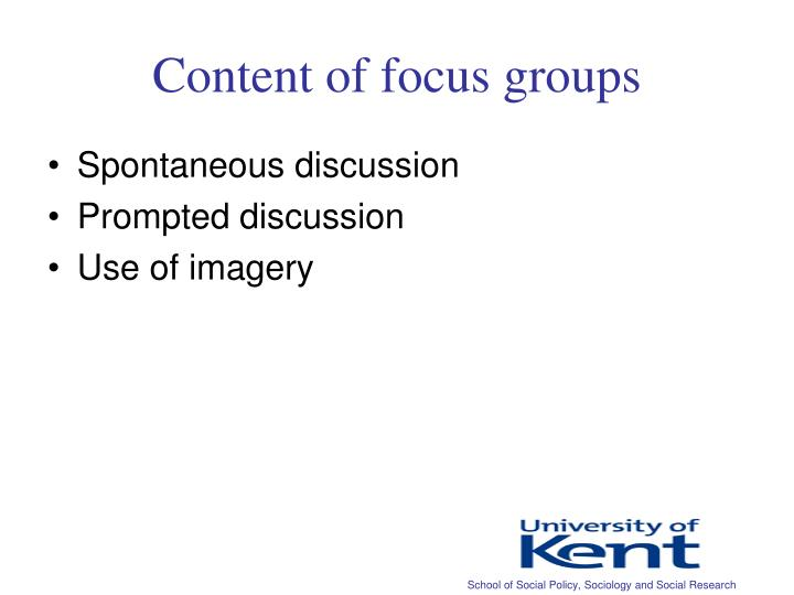 Content of focus groups