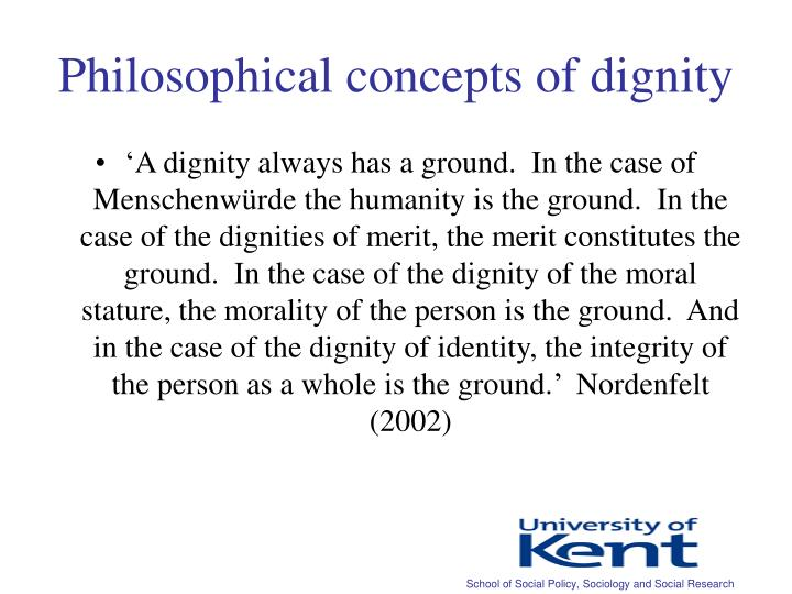 Philosophical concepts of dignity