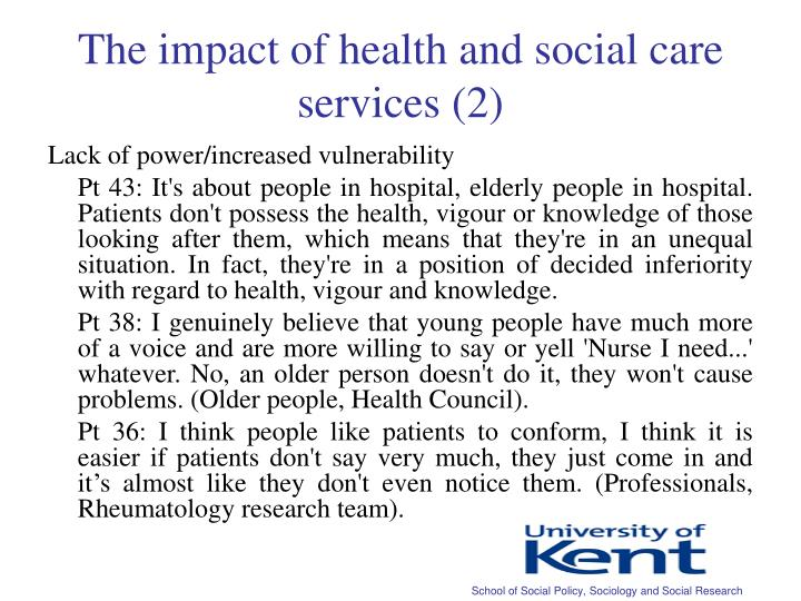 The impact of health and social care services (2)
