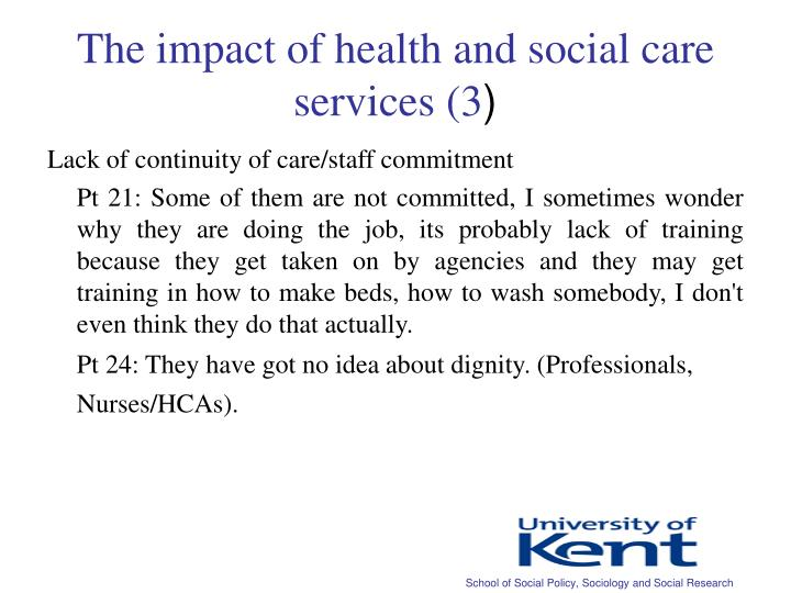 The impact of health and social care services (3