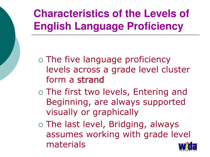 Characteristics of the Levels of English Language Proficiency