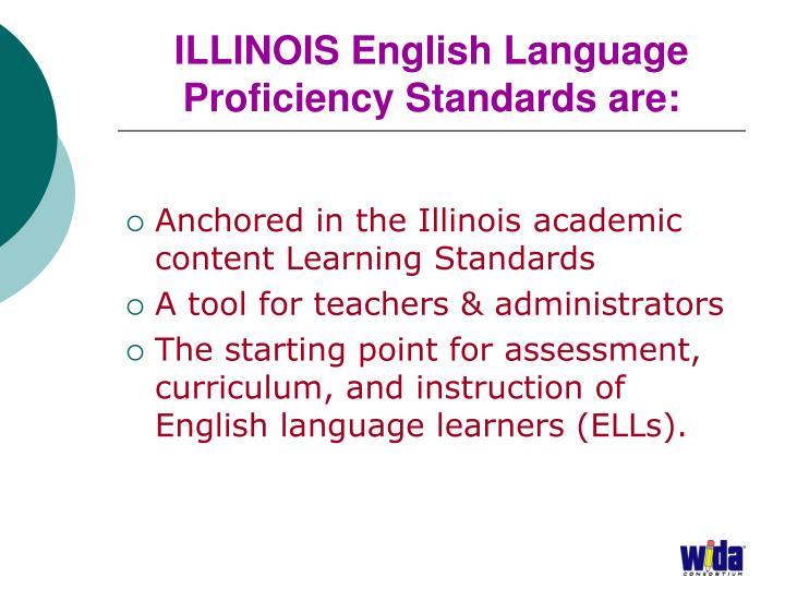 ILLINOIS English Language Proficiency Standards are: