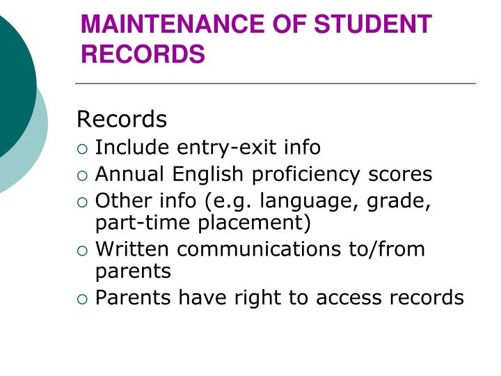 MAINTENANCE OF STUDENT RECORDS