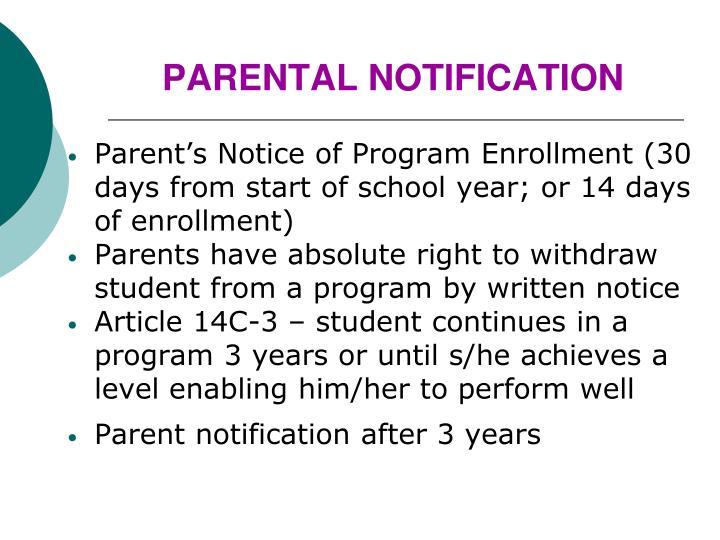 PARENTAL NOTIFICATION