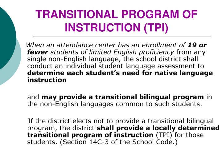 TRANSITIONAL PROGRAM OF