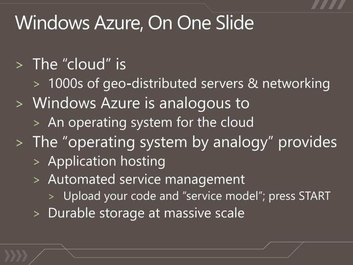 Windows Azure, On One Slide