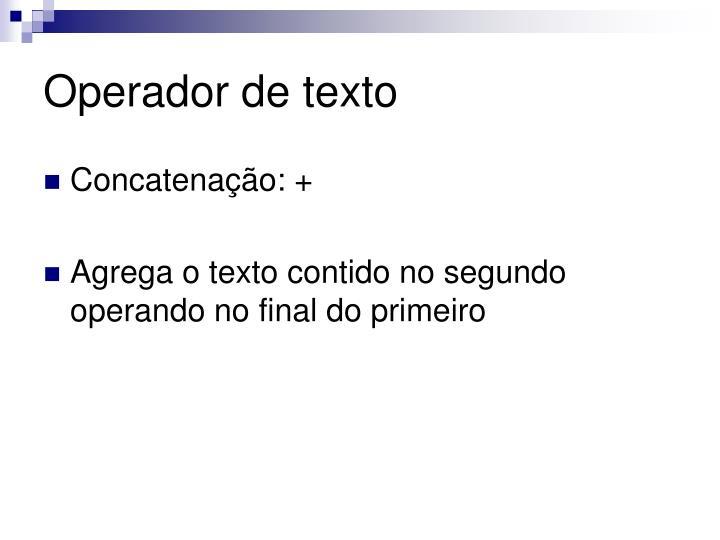 Operador de texto
