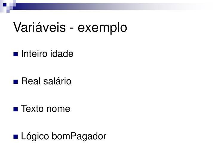 Variáveis - exemplo