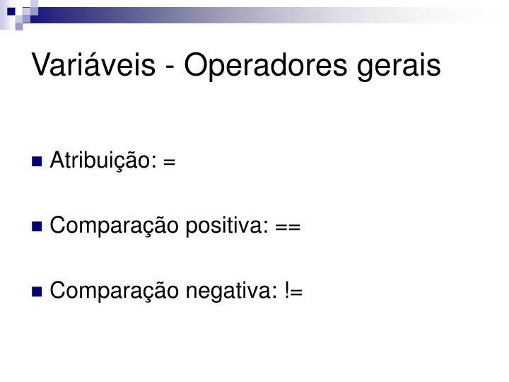 Variáveis - Operadores gerais