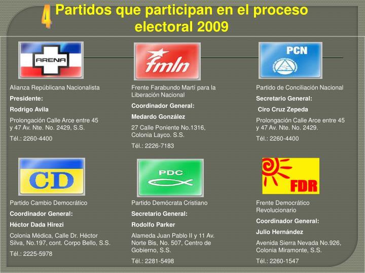 Partidos que participan en el proceso electoral 2009