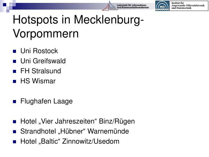 Hotspots in Mecklenburg-Vorpommern