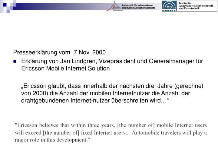 Presseerklärung vom  7.Nov. 2000