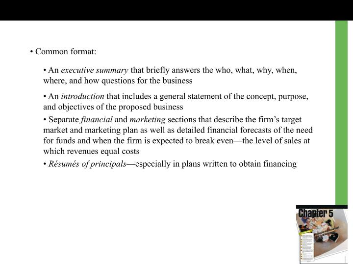 •Common format: