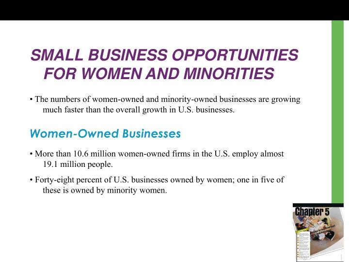 SMALL BUSINESS OPPORTUNITIES FOR WOMEN AND MINORITIES