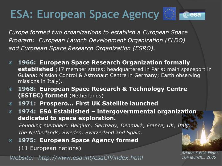 ESA: European Space Agency