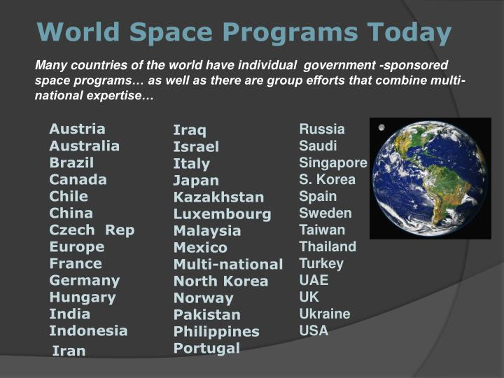 World Space Programs Today