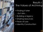 results i the values of archiving