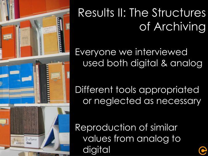 Results II: The Structures of Archiving