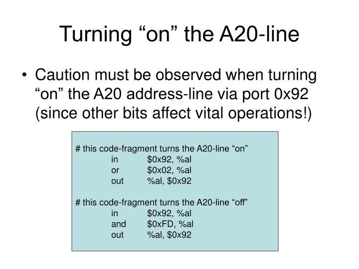 """Turning """"on"""" the A20-line"""