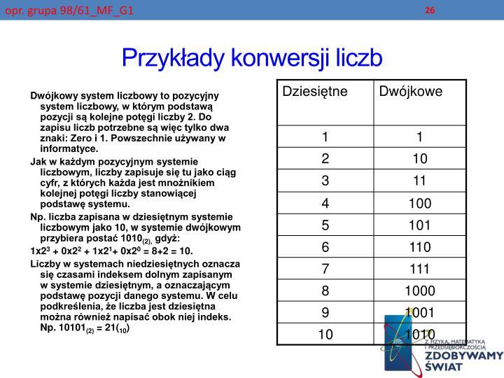 Przykłady konwersji liczb