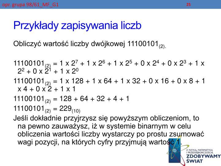 Przykłady zapisywania liczb