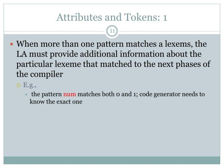 Attributes and Tokens: 1