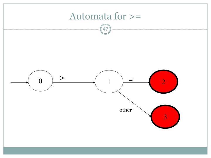 Automata for >=