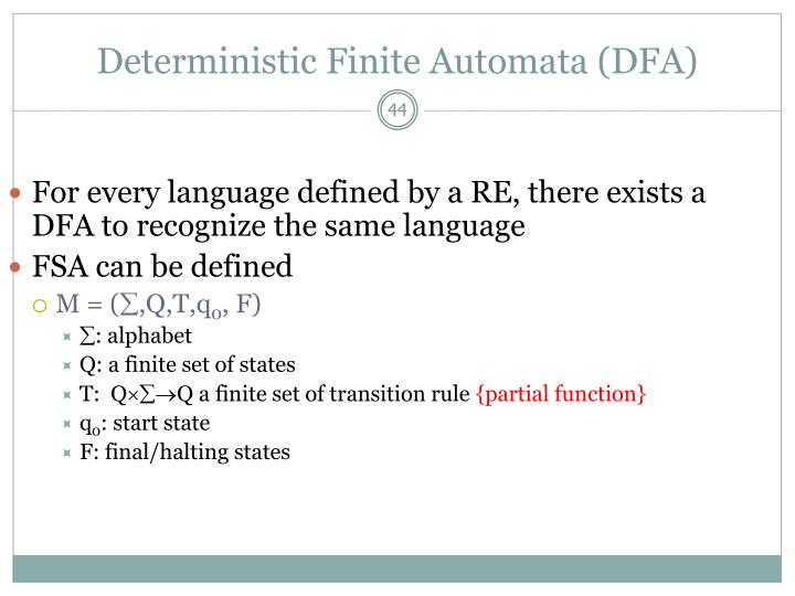 For every language defined by a RE, there exists a DFA to recognize the same language