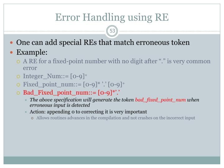 Error Handling using RE