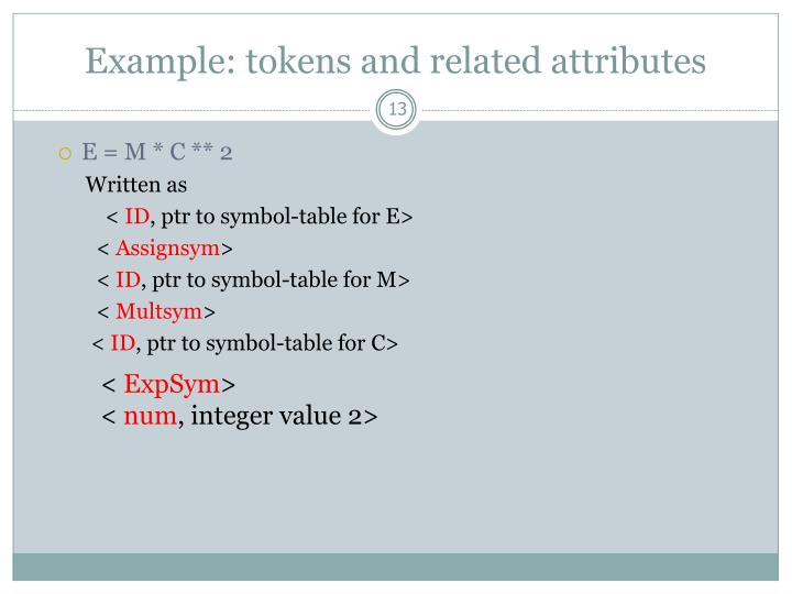 Example: tokens and related attributes