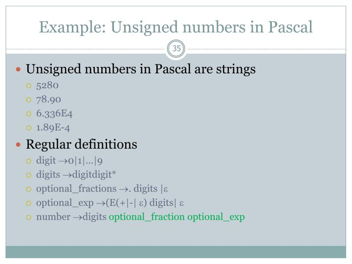 Example: Unsigned numbers in Pascal