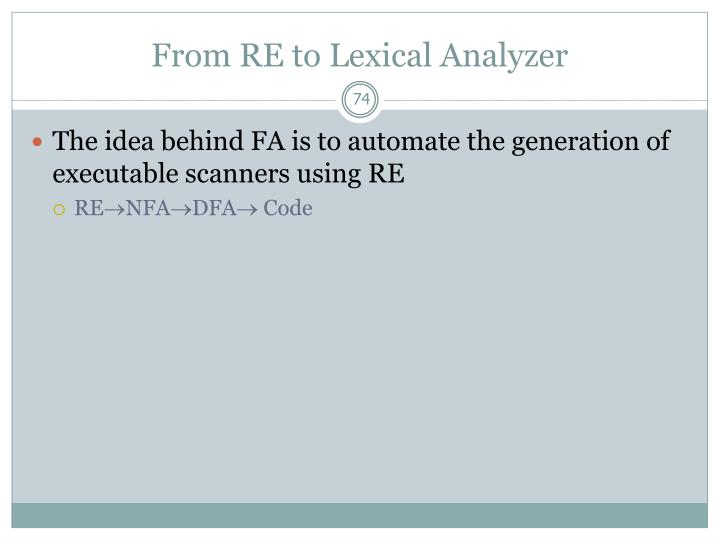 From RE to Lexical Analyzer