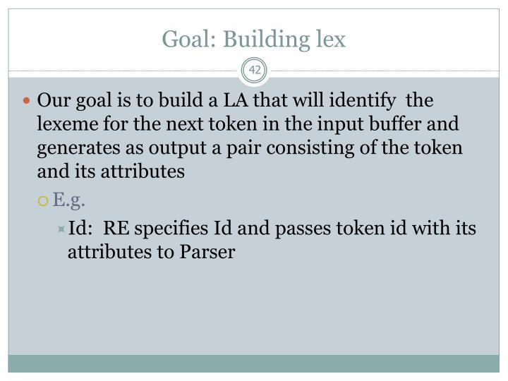Goal: Building lex