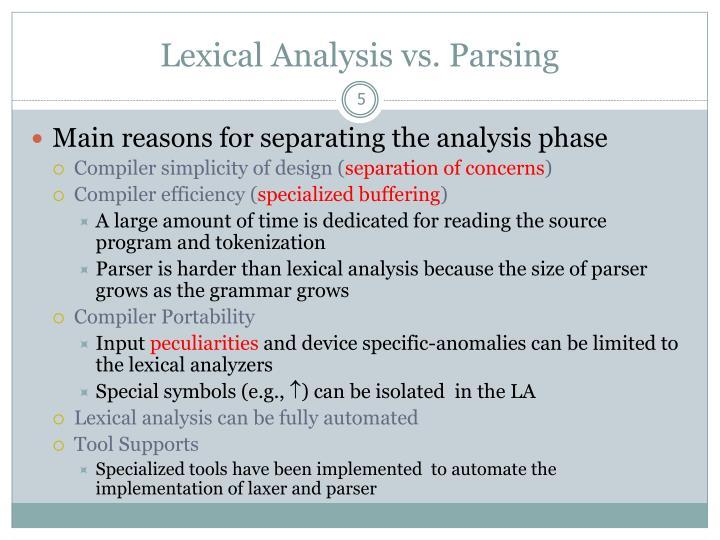 Lexical Analysis vs. Parsing