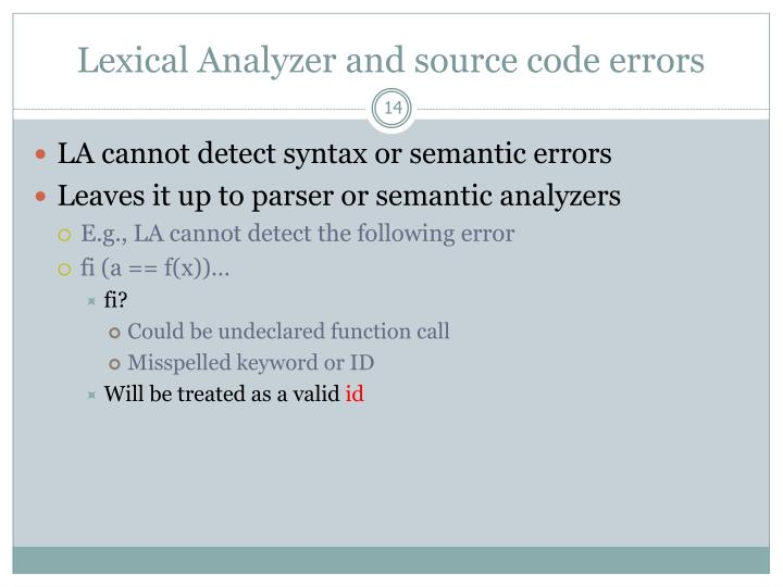 Lexical Analyzer and source code errors
