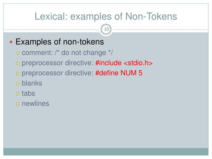 Lexical: examples of Non-Tokens