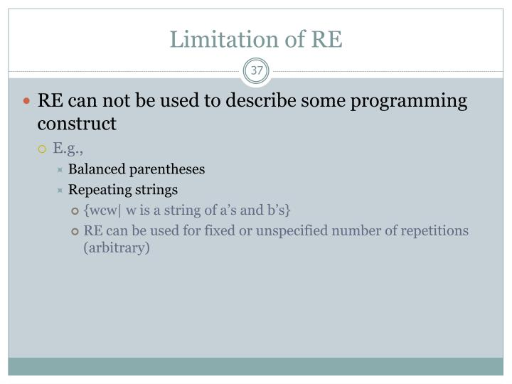 Limitation of RE