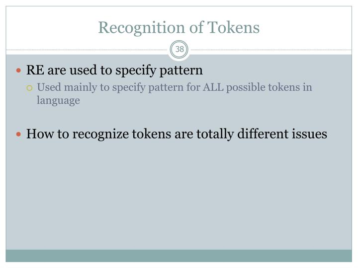 Recognition of Tokens