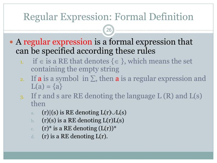 Regular Expression: Formal Definition