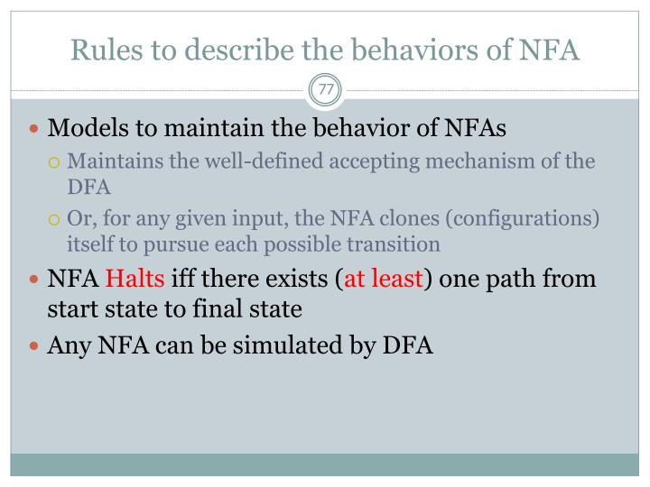 Rules to describe the behaviors of NFA