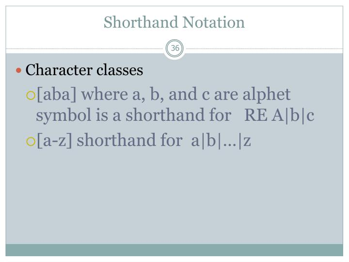 Shorthand Notation