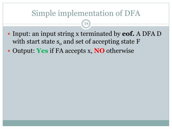 Simple implementation of DFA