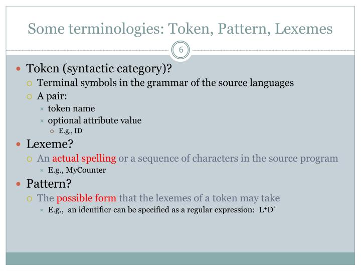 Some terminologies: Token, Pattern, Lexemes