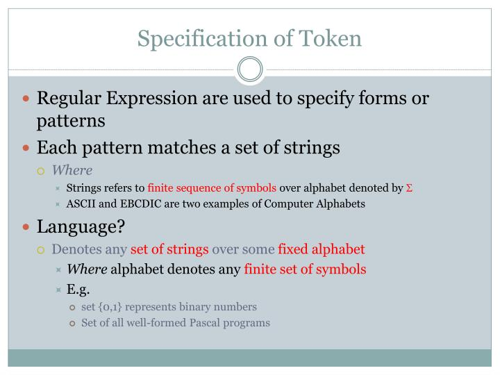 Specification of Token