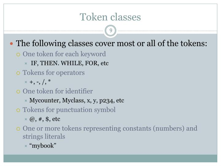 Token classes