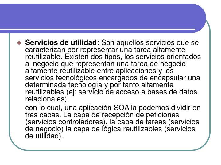 Servicios de utilidad: