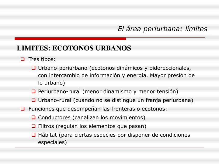 El área periurbana: límites