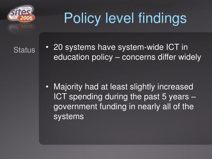 Policy level findings
