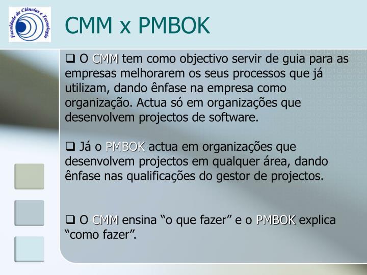 CMM x PMBOK